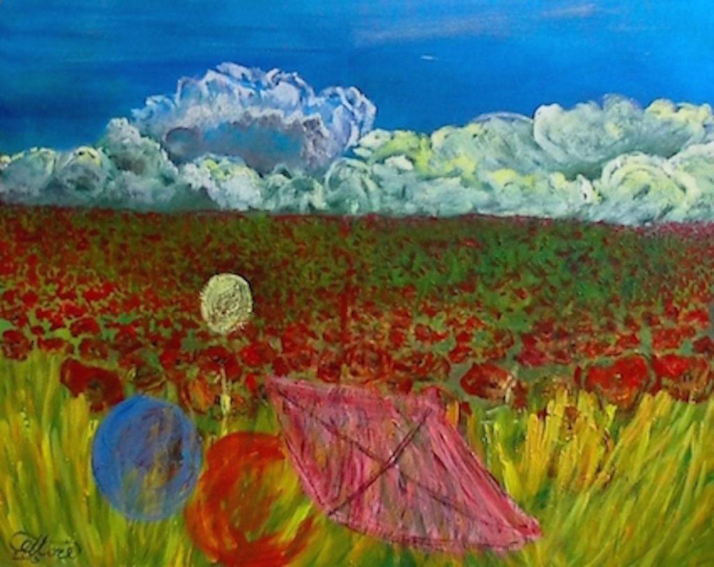 Papaveri e aquiloni, cm 100x80, mista su tela