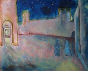 Luce nella città murata, acrilico su tela, cm 100x80